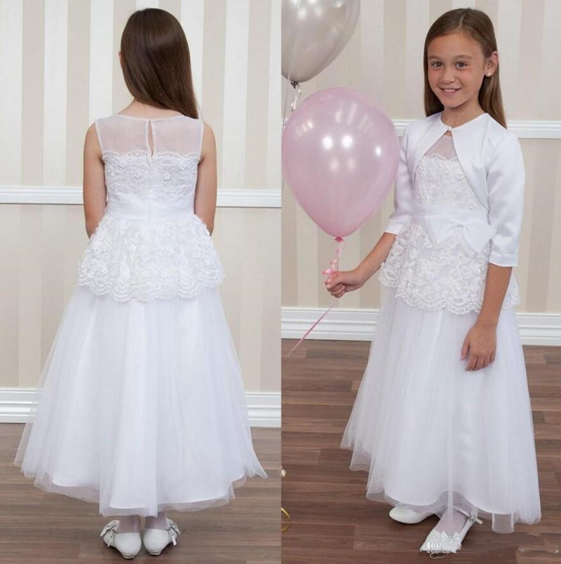 Pure White First Communion Dress with Satin Coat Popular Flower Girl Dress For Wedding Kids Evening Dress Newest Princess DressPure White First Communion Dress with Satin Coat Popular Flower Girl Dress For Wedding Kids Evening Dress Newest Princess Dress