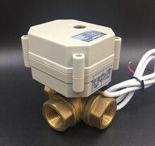 TF15-BH3-C, 2/3/5/7 провода DC12 или DC24V латунь 1/2 »(DN15) 3 Way Т/l Тип Горизонтальный Электрический клапан