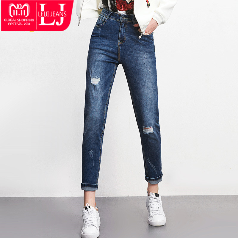 LEIJIJEANS Hot Sale Coole zomer Plus size Mode Ripped Bleach Mid-taille Volledige lengte High Street Dames Losse harem-jeans