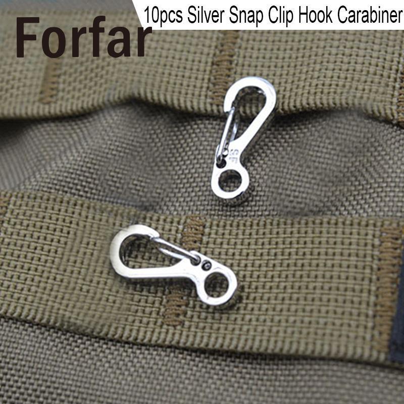 Forfar 10Pcs Mini Snap Hook Outdoor Carabiner Keychain Keyring Hiking Climbing Alloy Silver Hiking Camping Tool