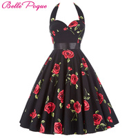 Tunic 50s Rocakbilly Dress Vestidos Plus Size Women Summer Floral Print Retro Casual Party Robe Pinup