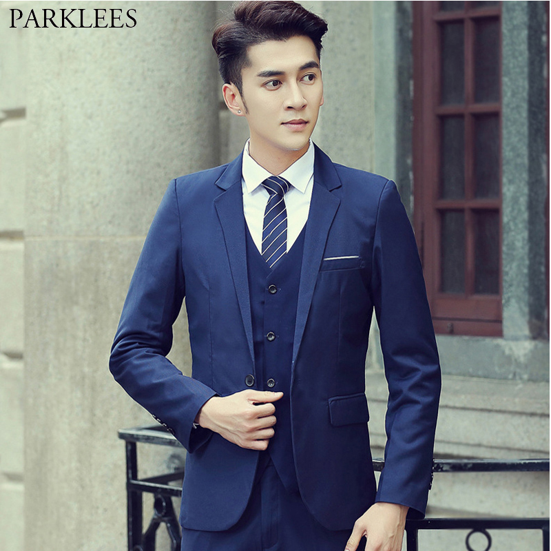 Navy Suit Wedding.Us 14 54 21 Off Navy Suit Men Slim Fit Casual Business Wedding Suits Men 2019 Fashion Single Breasted 3 Piece Suits With Pants For Business Man In