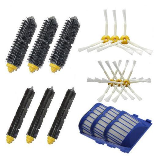 3 AeroVac Filter + 3 set Hair Brush + 6 side brush for iRobot Roomba 600 Series 595 620 630 650 660 Vacuum Cleaner Accessories bristle brush flexible beater brush fit for irobot roomba 500 600 700 series 550 650 660 760 770 780 790 vacuum cleaner parts