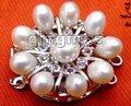 ПРОДАЖА Большой 30 мм натуральный белый 7-8 мм перл и горный хрусталь три пряди Цветок Clasp-gp78