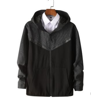 2018 Новая Осенняя мужская жира-fit Повседневная куртка мужская жира-fit черный куртка с капюшоном
