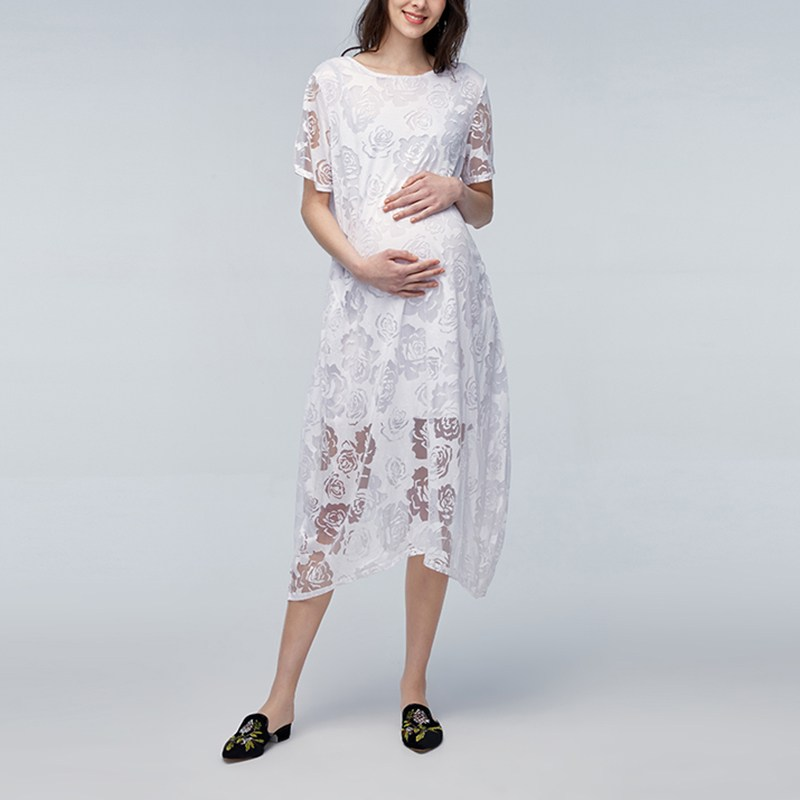 Maternity Clothes 2018 Summer Sexy Lace Embroidery Solid Dress Pregnant Women Casual Loose Mid-calf Vestidos Pregnancy Plus Size