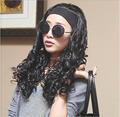 40cm wigs fashion hair design 100% high temperature silk scroll cone head headband 3/4 wig lady popular semi-caps 190g