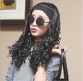 40cm wigs fashion hair design 100% high temperature silk scroll cone head headband 3/4 wig lady popular semi-caps 190g