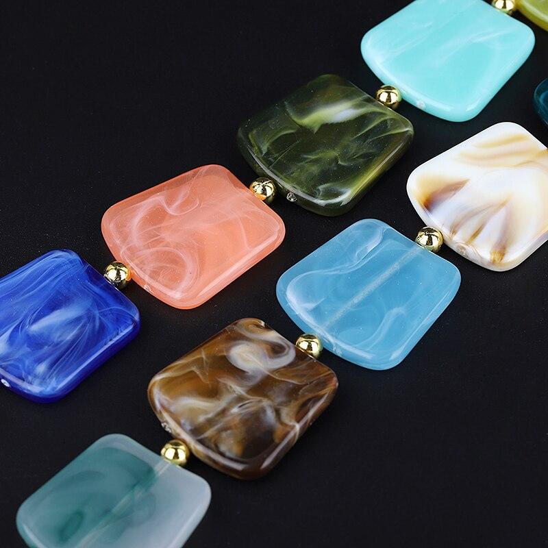 Carré Résine Pendentif Perles, Chaîne Corde Déclaration Collier Acrylique,