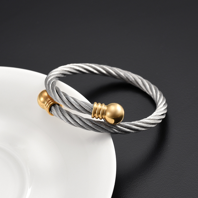 156b80fb055 IJB0526 Fashion Personalized Stainless Steel Wire Twist Open Wild Cable  Cuff Bracelet Bangle With Ring - Expandable