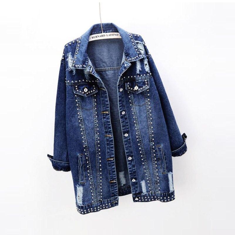 2019 printemps nouvelle mode coréenne rivet trou à manches longues femmes lâche denim veste femme long jean veste 1985