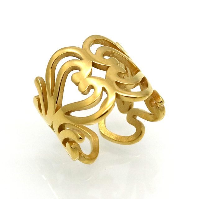 Stainless Steel Rings For Women Gold Color Love Knot Hollow Heart