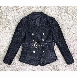 Image 4 - חדשה באיכות גבוהה אופנה 2020 סתיו חורף מעצב בלייזר מעיל נשים של כסף גליטר לשרוך חגורת בלייזר מעיל