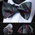 BZC01G Green Orange Check Men Silk Self Bow Tie handkerchief Cufflinks set Pocket Square Classic Party Wedding