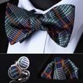 Bzc01g зеленый-оранжевый проверьте мужчины шелковый самостоятельная галстук-бабочку платок запонки комплект карманный площадь классический ну вечеринку свадьба