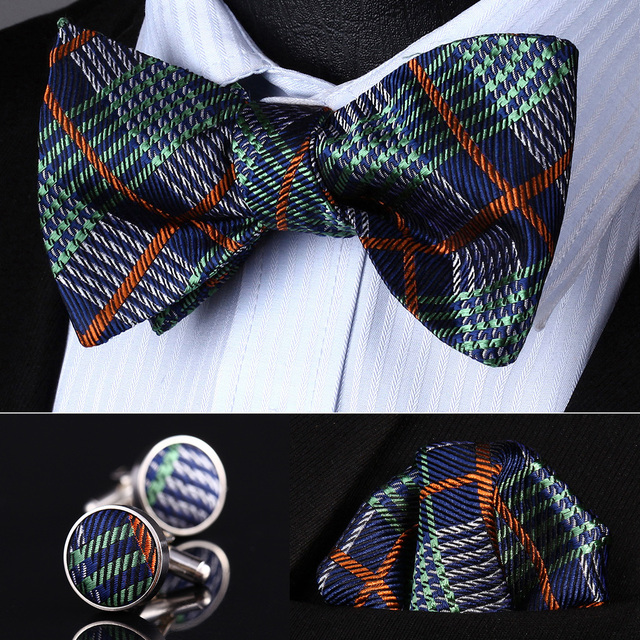 Bzc01g verde naranja compruebe hombre seda auto pajarita pañuelo gemelos set Pocket Square partido clásico de la boda