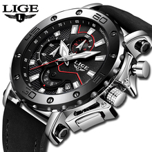 LIGE Men Watches Male Business Date Chronograph Waterproof Quartz Watch Men's Ca