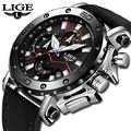 LIGE 男性腕時計男性ビジネス日付クロノグラフ防水クォーツ時計メンズカジュアル革大型軍用時計レロジオ