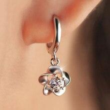 Стерлингового серебра 925 plum цветы циркон серьги женщины шарм марка ювелирных изделий бесплатная доставка (se004)