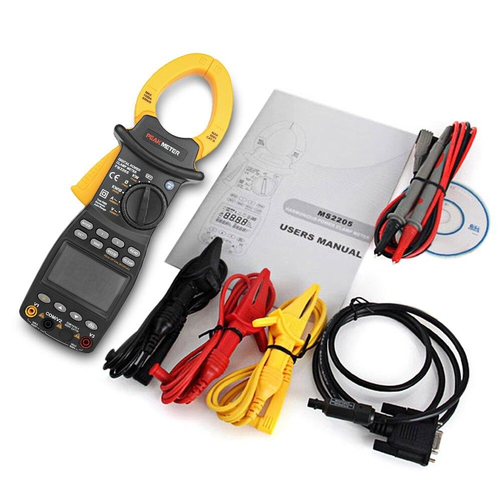 PEAKMETER MS2205 клещи AC RMS Active Мощность фактор пассивный частоты мультиметр сопротивление Напряжение емкость диода
