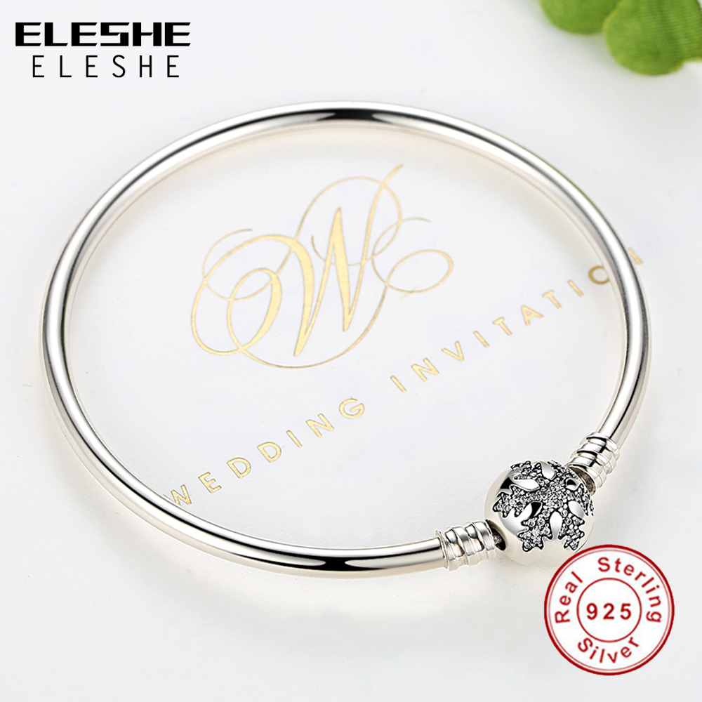 Real 925 Sterling Silver Bracelet Bangle Crystal Snowflake Clip Charm Beads Bracelet For Women Luxury DIY Jewelry