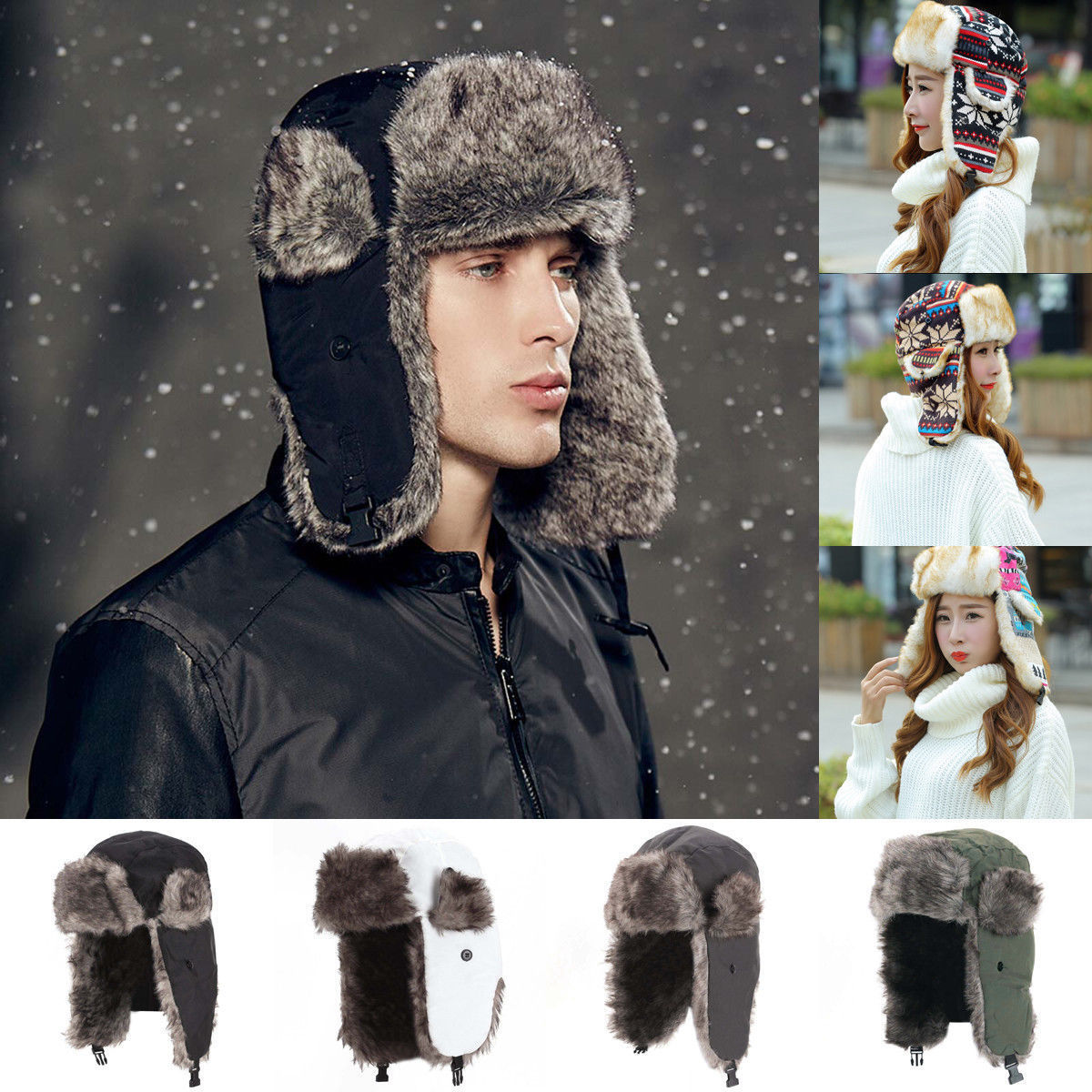 Apparel Accessories Honest Hot Men Women Winter Bomber Hats Trapper Earflap Warm Russian Ski Hat Bomber Hats Hot Sale 50-70% OFF
