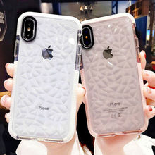 Luxury Diamond stone Transparent Soft TPU Clear Phone Case For iPhone X 7 Plus 6 6S 8 8Plus Bling Rhombus Back Cover