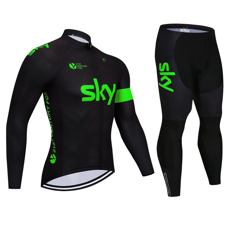 2018 Fluorescent green sky Long Sleeve Cycling Jersey Set Mountain Bike  Clothes Wear Maillot Ropa Ciclismo Quick f10a6a0a7