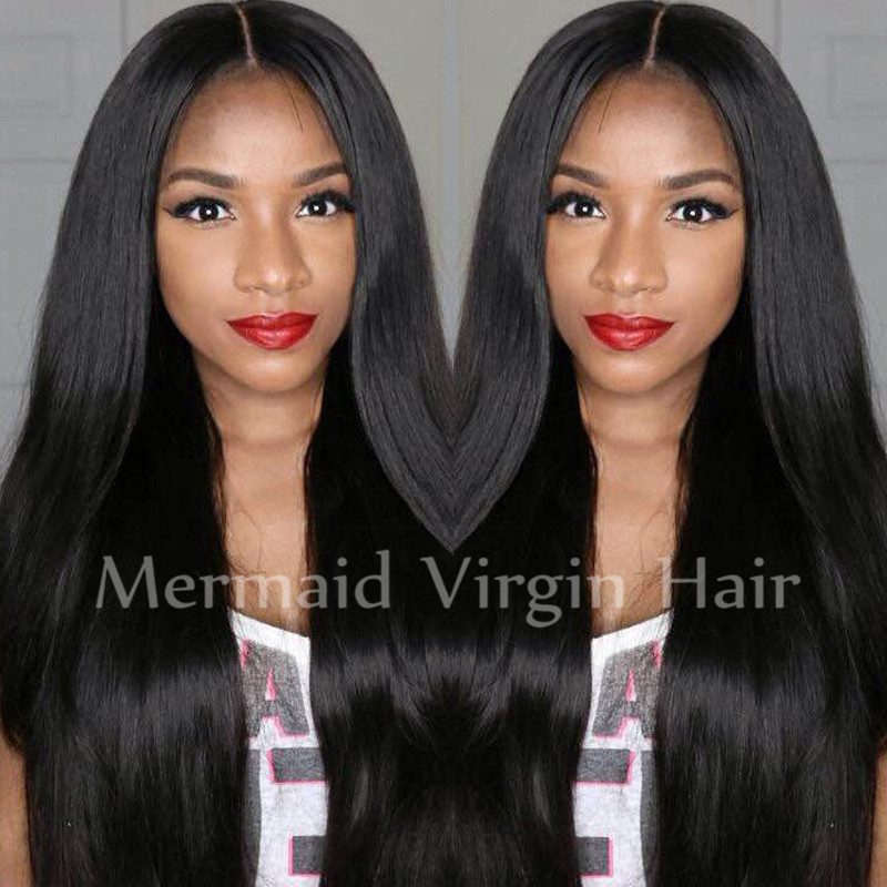 2016 New Glueless Lace Front Human Hair Wigs Malaysian Full Lace Human Hair Wigs For Black Women Straight Human Hair U Part Wigs