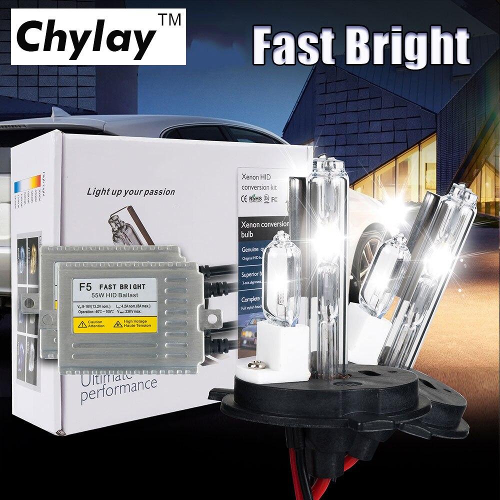 1 set Hid xenon Kit 0.1 seconde rapide lumineux F5 55 w AC HID kit H4 xénon et lampe halogène 4300 k 6000 k 8000 k voiture ampoule