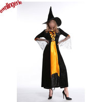 New style Halloween Witch Robe Costumes Adult Sexy yellow and black long robe with Hat Carnival Party Female Suit w1928