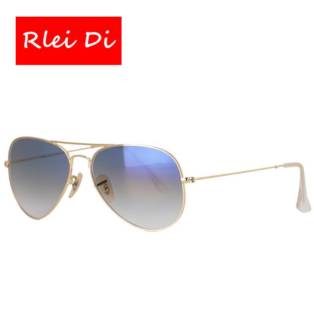 Rlei di mais alta qualidade das mulheres dos homens unisex clássicos óculos de sol do quadro do ouro óculos óculos de lente azul gradiente de vidro 58mm para a condução