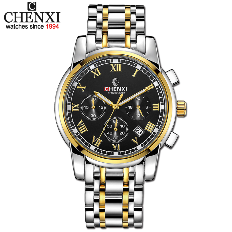 CHENXI Men Sports Chronograph Watches Mens Quartz Watch Man Fashion Golden Full Steel Waterproof Wrist Watches Relogio Masculino