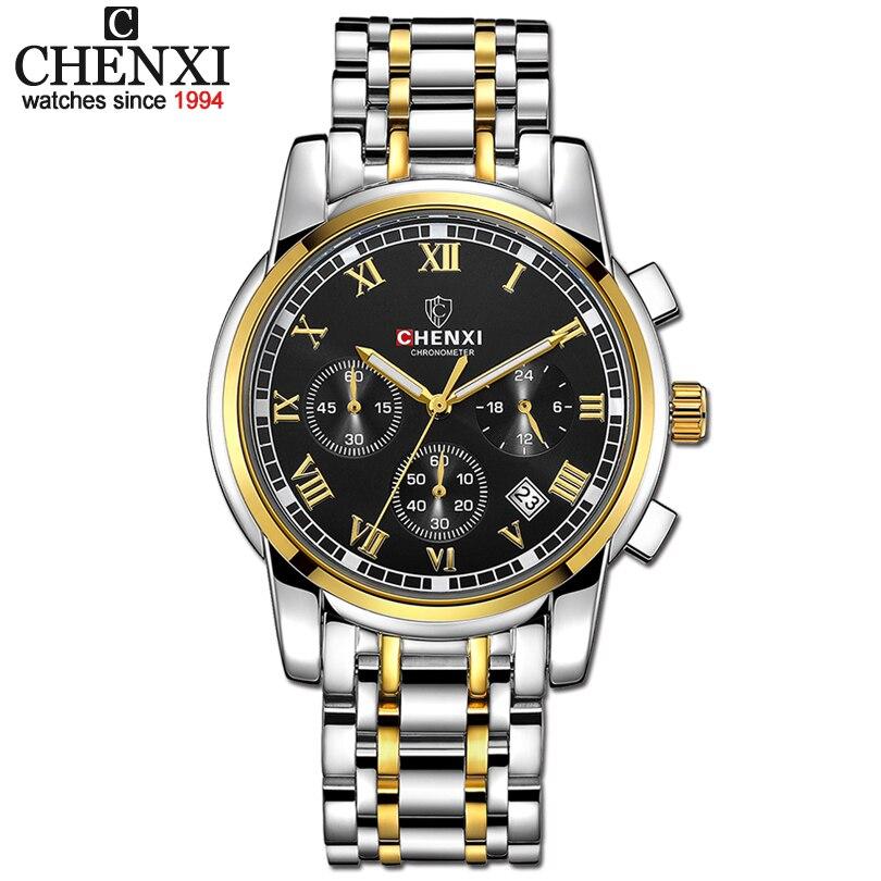 CHENXI Men Sports Chronograph Watches Mens Quartz Watch Man Fashion Golden Full Steel Waterproof Wrist Watches Relogio Masculino