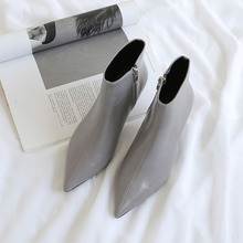 Pointed high heel white booties Autumn and winter new fine Martin boots Naked Womens Spring single