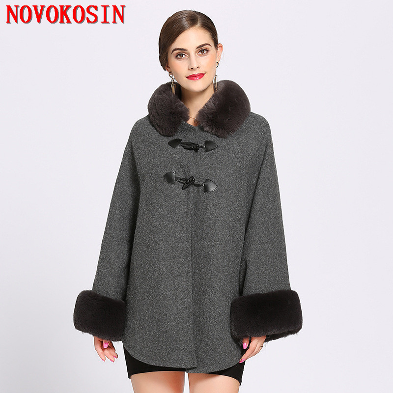 SC215 2018 Capes Women Faux Rabbit Fur Collar Cardigan Winter Warm Thick Long Batwing Sleeves Poncho Plus Size Ladies Hairy Coat