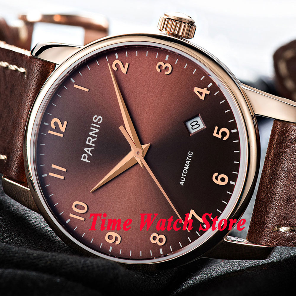 Parnis 38mm Miyota 821A 21 jewels Rose Gold case sapphire glass Automatic movement Men's watch men 824