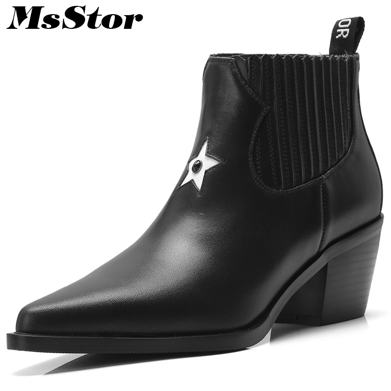 MsStor Women Boots Pointed Toe High Heel Boots Shoes Woman 2018 Fashion Elegant Crystal Genuine Leather Ankle Boots Women Shoes