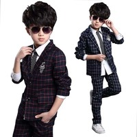 baby boys clothes formal Suit Western style Clothes Real Boys Cotton fashion plaid Turn down Collar Single Breasted kids outwear