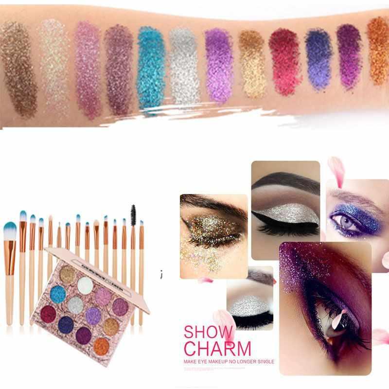 Maquillaje paleta de sombra de ojos brillo diamante pigmento brillo maquillaje sombra de ojos con 15 piezas maquillaje cepillo nuevo