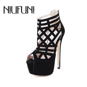 a0a55e6ab12b1f NIUFUNI 2018 Summer Platform Ladies Black Pumps Women Shoes