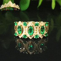 100% 18K Gold Lab Created Emerald and Moissanite Diamond Ring With national certificate