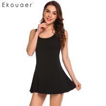 Ekouaer Vrouwen Casual O-hals Mouwloze Kant Patchwork Regular Fit Sexy Vest Tops Jurk(China)