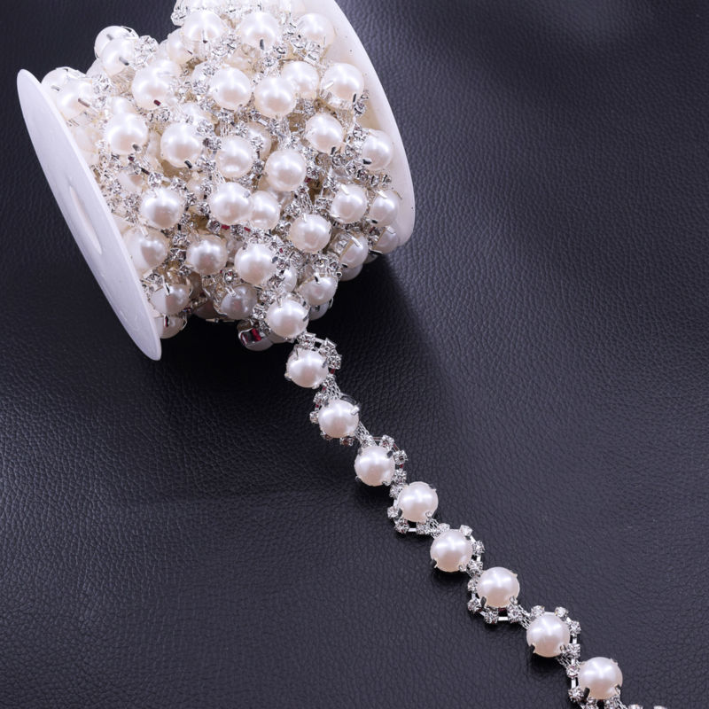5yards Simple Design Pearl Clothing Chains Silver Plated Crystal Rhinestone Trimming Decorations For Prom Wedding Dress