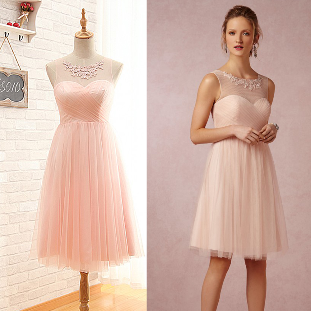 Cute Short Light Pink Blush Bridesmaid Dresses Cheap Empire Tulle Dress Sexy Pleat Women Wedding Guest Gowns B65 In From