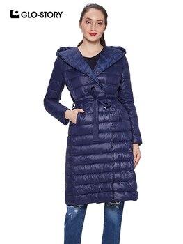 ae554f2cd35 GLO-STORY Для женщин 2018 светло Вес мягкие тонкие длинные парки Женская  повседневная одежда модная куртка пальто Топы с капюшоном