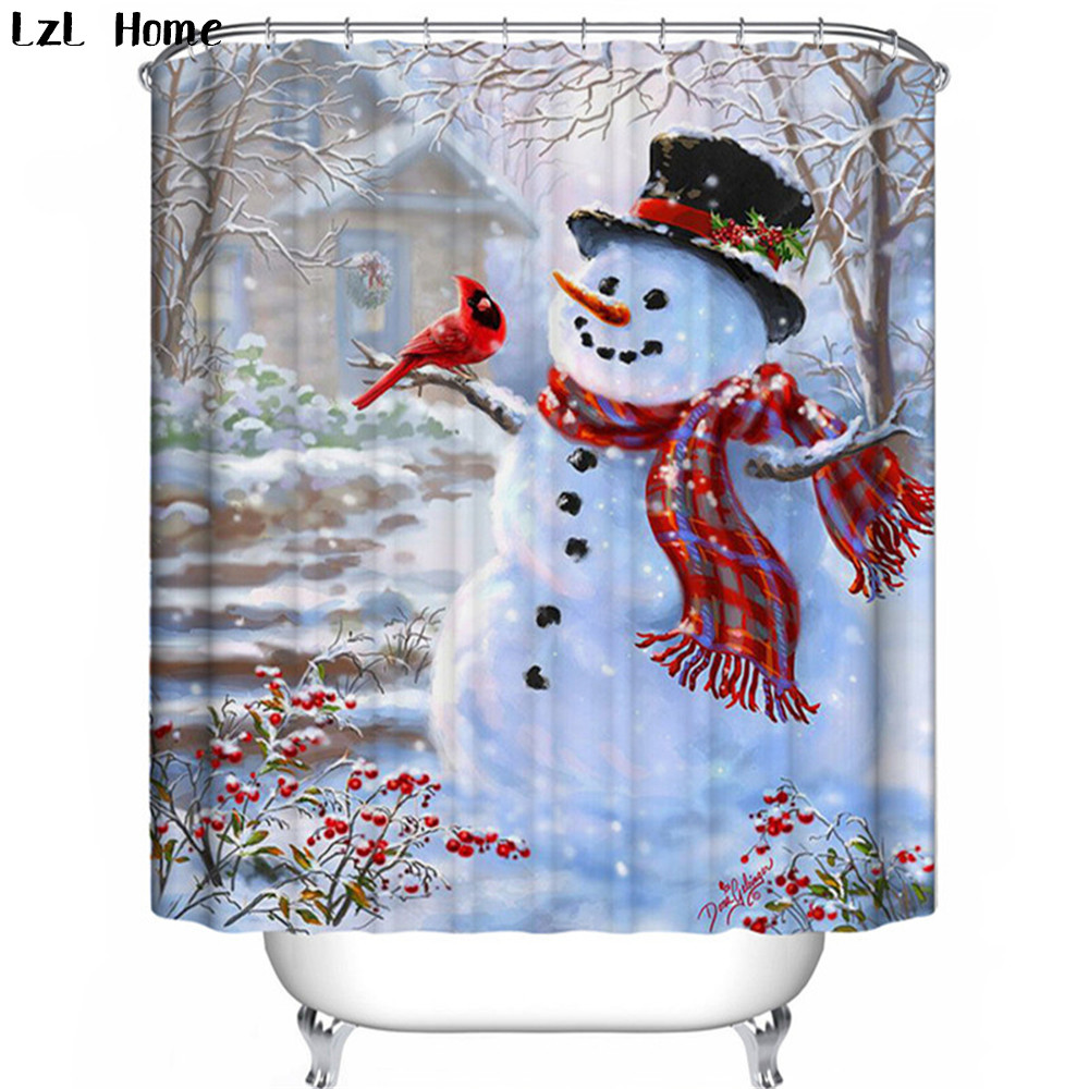 Lzl home christmas shower curtain snowman 3d rideau de - Rideau de douche polyester ...