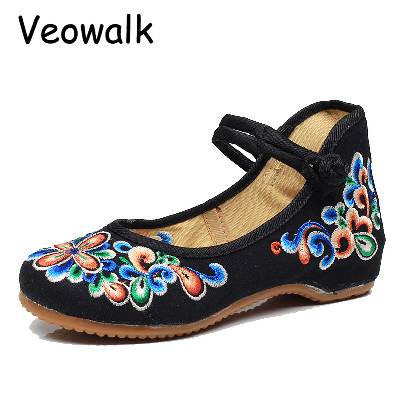 Veowalk Woman Old Peking Shoes Mary Jane Flat Heel Demin Flats Women's Flower Embroidery Soft Sole Ladies Casual Walking Shoes chinese embroidery shoes woman old peking flat heel denim fashion casual floral flats soft sole casual shoes smyxhx b0057