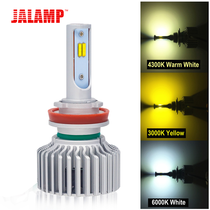 60W 1 Pair 3 colors Changeable 3000K 4300K 6000K LED Car Lights Bulbs lamps 12V Headlamp