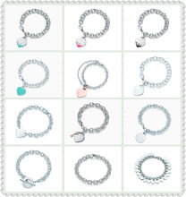 SHINETUNG 1:1 S925 Sterling Silver Original TIFF High Quality love heart Circle Heart Key Bracelet Women fashion Charm Jewelry(China)